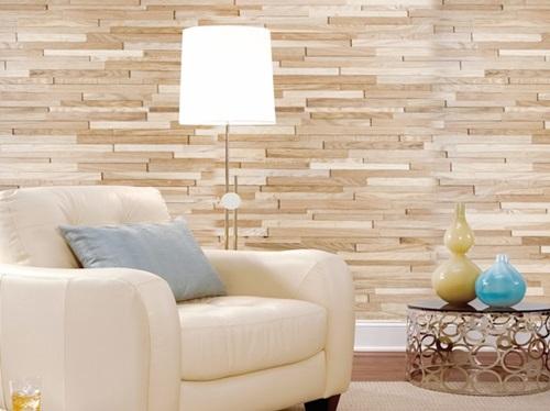 Drewniane panele ścienne 3D Natural Wood Panels w eleganckim salonie.