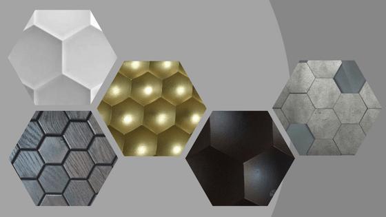 Pomysł na modny wystrój wnętrza - płytki heksagony w różnych rodzajach wykończeń.