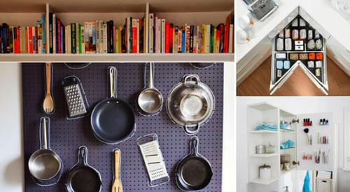 Pomysły na sprytne przechowywanie - miniaturki pomysłów widocznych niżej.