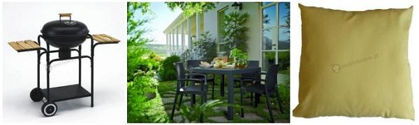 Zestaw mebli na ogrodowy taras: grill, zestaw z wysokim stołem, poduszki.