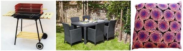 Wygodny komplet do wiosennego grillowania: stół i fotele, grill, poduszki.