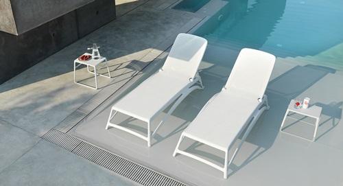 Nardi Atlantico leżak plażowy z kółkami Bianco/Bianco