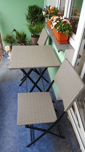Zestaw mebli na balkon SMART - technorattan szary