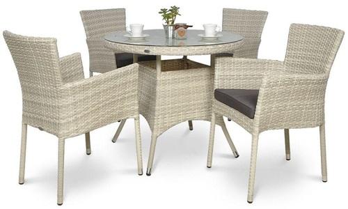 Stół i krzesła ogrodowe z technorattanu Lerida/Roma 4+1