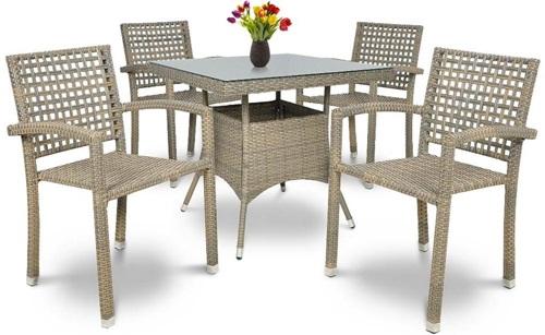 Stoły i krzesła ogrodowe technorattan Roca/Lugo 4+1