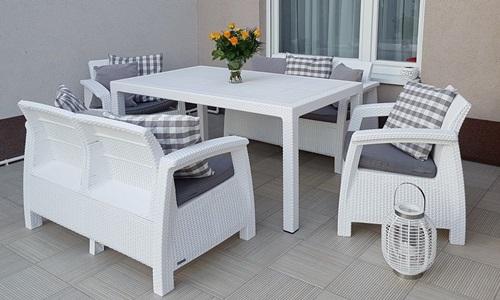 Białe meble ogrodowe Corfu Fiesta