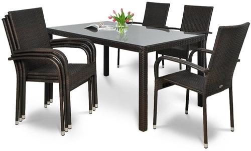 Stół i krzesła ogrodowe z technorattanu Fiesta/Venecja