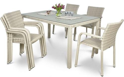 Stół i krzesła ogrodowe technorattan Negros/Torino
