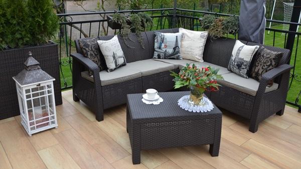 Curver Corfu Relax Set brązowy narożnik ogrodowy w aranżacji pani Małgorzaty.