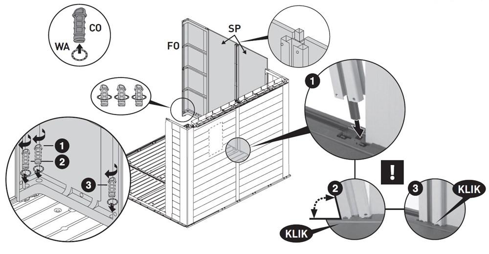 Instrukcja montażu domku narzędziowego Keter Factor 8x8