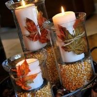 świece w jesiennym stroiku