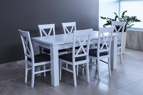 Biały stół i 6 krzeseł - rozkładany - Amelia 160-K6 (X)