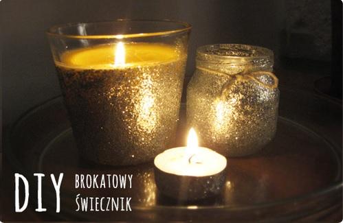 świecznik ozdobiony brokatem