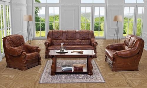 Ekskluzywne meble wypoczynkowe do salonu skóra naturalna Parma