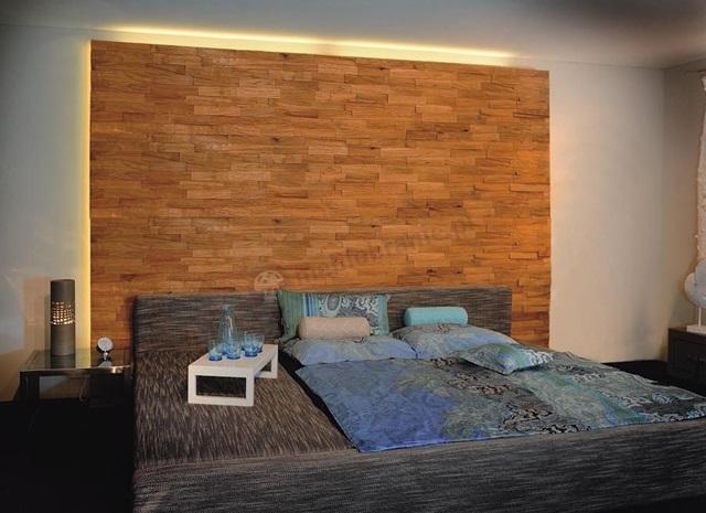 Sypialnia wykończona drewnianymi panelami Natural Wood Panels.