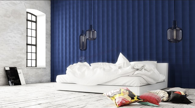 Sypialnia wykończona panelami gipsowymi 3D Model Lumi ArtPanel