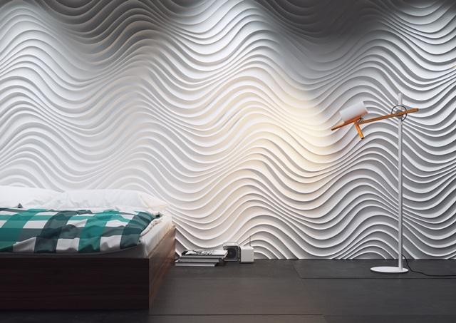 Sypialnia wykończona panelem ściennym Dunes Curled