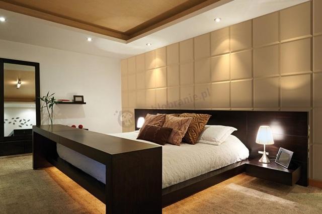 Sypialnia wykończona panelem poliuretanowym 3D VIA Panels Brick
