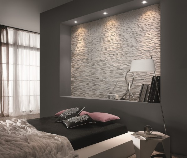Kamień na ścianie w sypialni Moderno Arctic Incana Decor