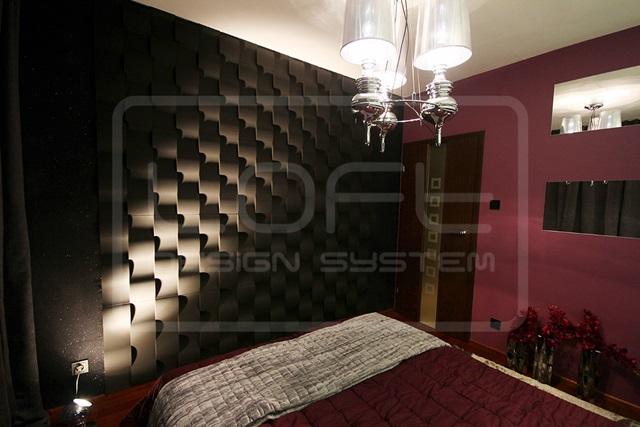 Sypialnia wykończona panelami Loft Design System model 03