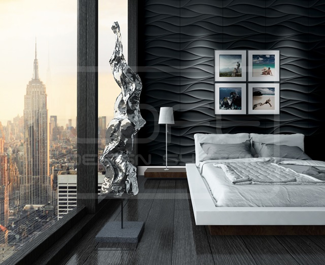 Sypialnia wykończona panelami Loft Design System
