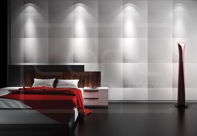 Sypialnia wykończona panelami Loft Design System model 22