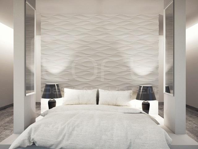 Sypialnia wykończona panelami Loft Design System model 24