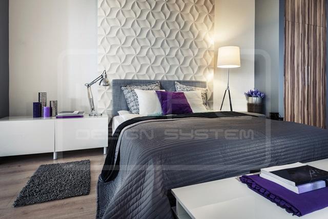 Sypialnia wykończona panelami Loft Design System model 29