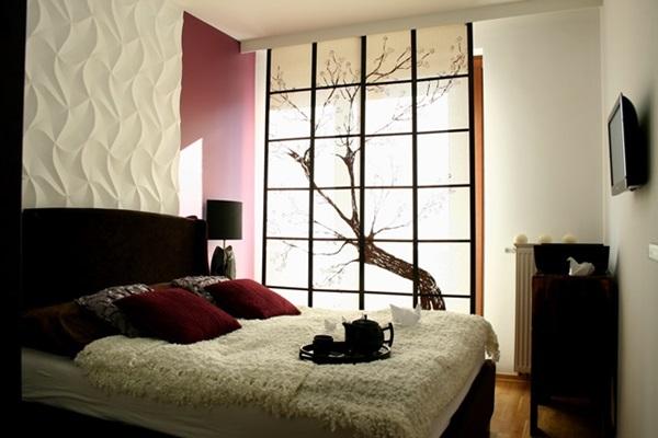 Sypialnia wykończona z użyciem paneli Origami marki Dunes