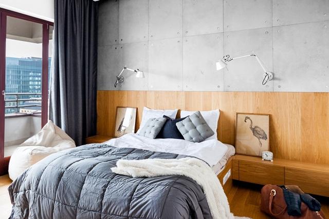 Sypialnia z płytami betonowymi na ścianę Concrete