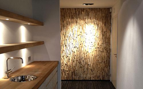 Panele drewniane na ścianę Natural Wood Panels wykorzystane w przedpokoju