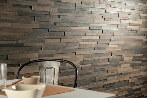Panele drewniane ścienne Natural Wood Panels wykorzystane w jadalni