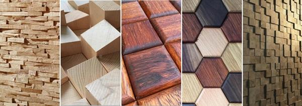 Panele ścienne drewniane 3D - kompilacja różnych wzorów paneli Natural Wood Panels