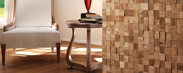 Panele drewniane ścienne Natural Wood Panels wykorzystane w salonie