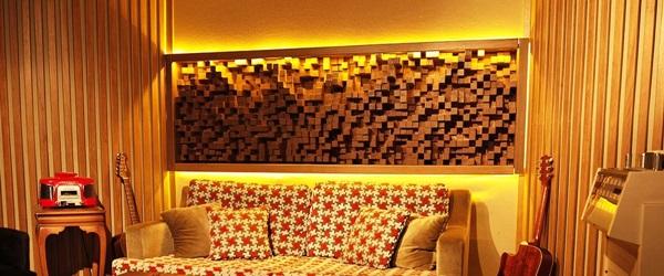 Panele ścienne drewniane akustyczne Natural Wood Panels wykorzystane jako detal