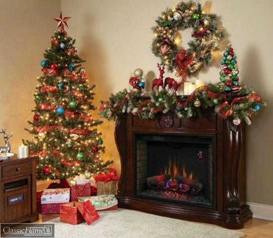 Dekoracja świąteczna kominka elektronicznego Lexington