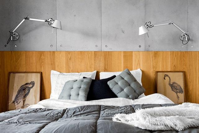 Beton dekoracyjny na ścianę w sypialni