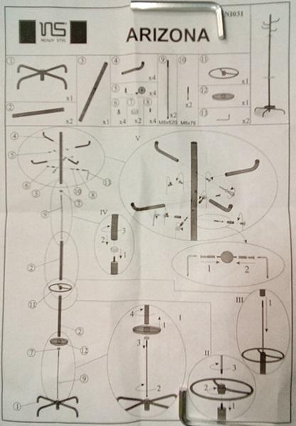Montaż wieszaka na ubrania do biura Arizona - instrukcja