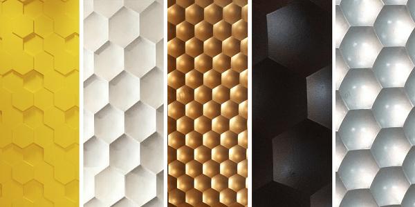 Płytki heksagony gipsowe wykończone na różne sposoby