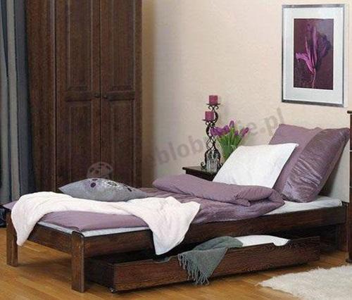 Łóżko z praktyczną szufladą na pościel i inne drobiazgi