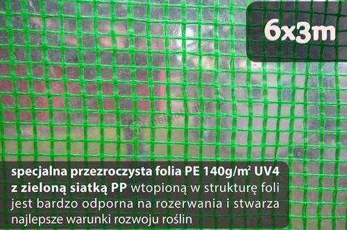Folia na tunel foliowy z polipropylenową siatką wzmacniającą