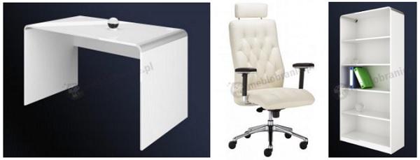 Pomysł na nowoczesne biuro domowe utrzymane w odcieniach bieli