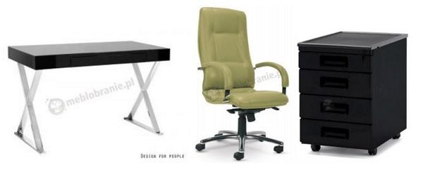 Pomysł na nowoczesne biuro domowe z czernią urozmaiconą zielonym fotelem