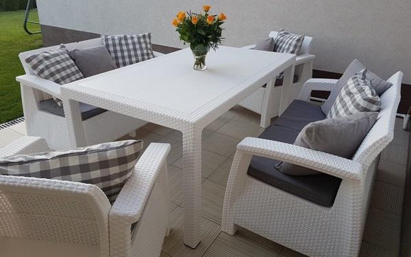 Białe meble ogrodowe Corfu Fiesta Curver