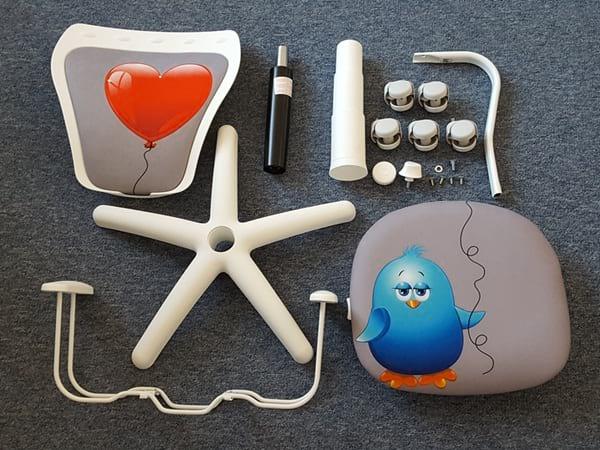 Krzesło obrotowe dla dzieci Ministyle poszczególne części do montażu