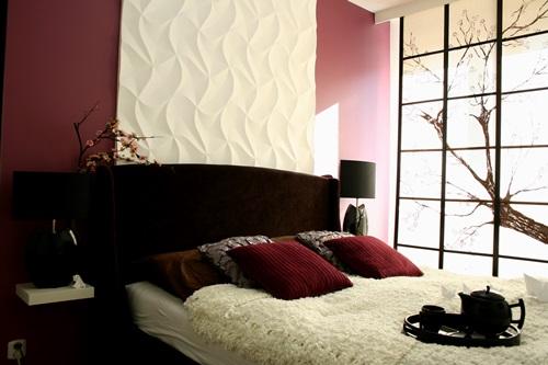 Sypialnia w stylu japońskim ozdobiona panelami dekoracyjnymi Dunes Origami