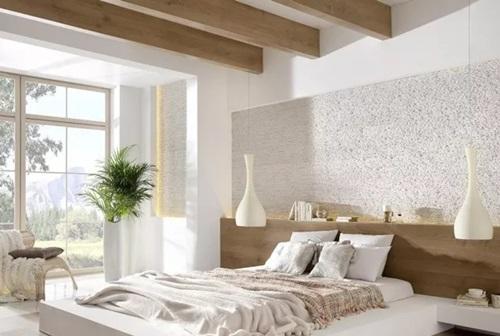 Sypialnia ozdobiona kamieniem dekoracyjnym Incana