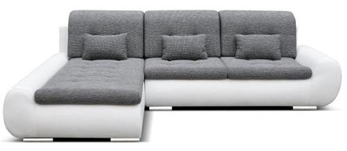 Biały narożnik pokojowy z ekoskóry rozkładany Space z siedziskiem z tkaniny tapicerskiej
