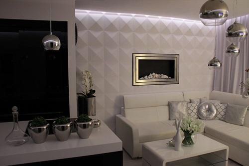 Najpopularniejsze style wnętrz - salon glamour wykończony ciekawym wzorem paneli ścienny Diamonds od Loft Design System.