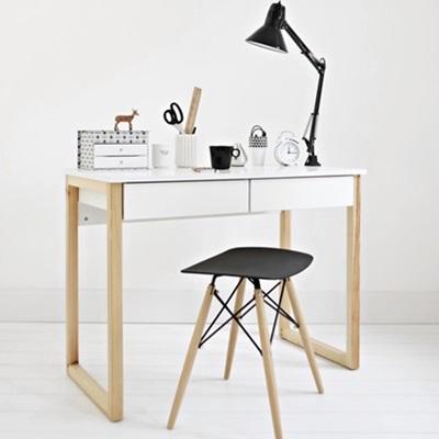 Minimalistyczne biurko z szufladami białe Des-5-2 100 cm